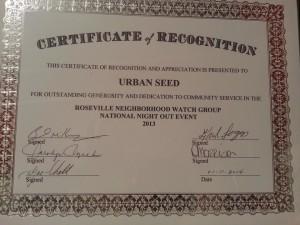 Roseville, MI Neighborhood Watch Award