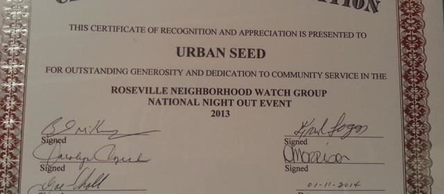 Roseville Michigan Neighborhood Watch Awards the Urban Seed gardening project
