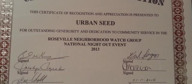 Roseville Michigan Neighborhood Watch Awards the Urban Seed gardening project